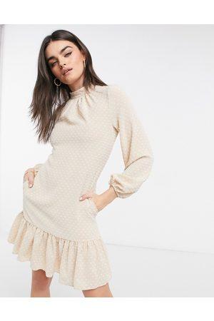 Closet High neck volume sleeve mini dress with frill hem in cream