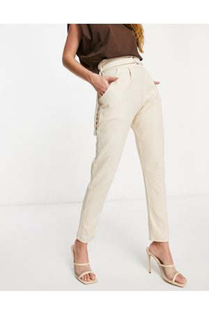 Femme Luxe High waist pu trousers in stone croc