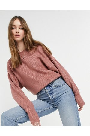 ASOS Jumper with batwing and pleat sleeve detail in dusky pink