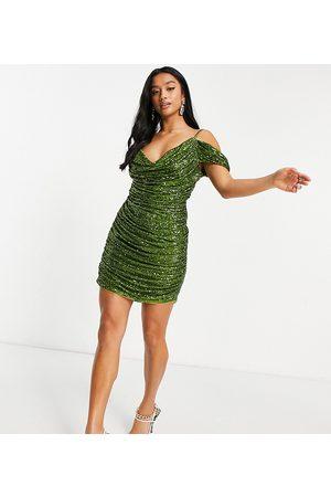 Jaded Rose Petite Off shoulder ruched mini dress in olive sequin