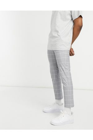 New Look Check smart trousers in grey