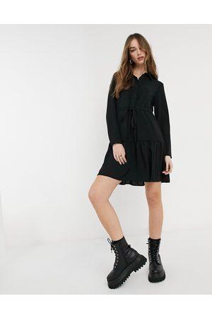 New Look Tie waist tiered shirt dress in black