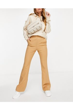ASOS Slim kick flare trousers with seams in camel