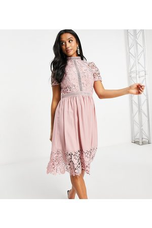 Chi Chi London Lace detail skater dress in pink
