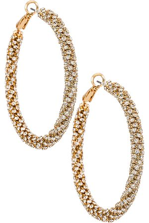 Ettika Pendientes de aro crystal en color oro metálico talla all en - Metallic Gold. Talla all.