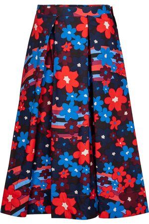 Marni Floral cotton midi skirt