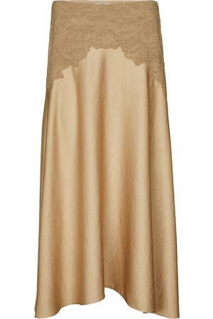 Vince High-rise satin midi skirt
