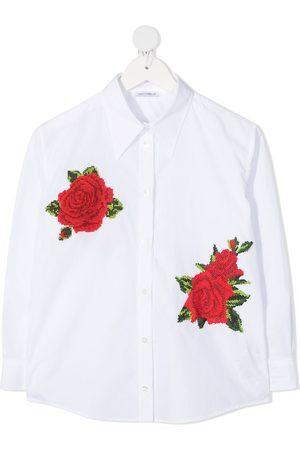 Dolce & Gabbana Camisa con rosas bordadas