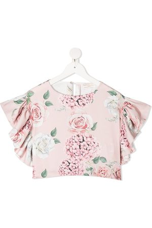 MONNALISA Blusa corta con estampado floral