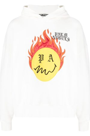 Palm Angels BURNING HEAD HOODY BRILLANT WHITE YELLOW
