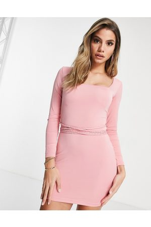 Mars the Label Going out long sleeve bodycon dress with multiway belt detail in pink