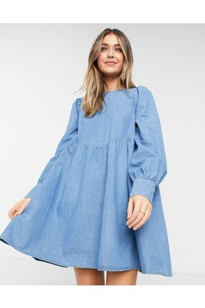 ASOS Soft denim puff sleeve smock dress in midwash