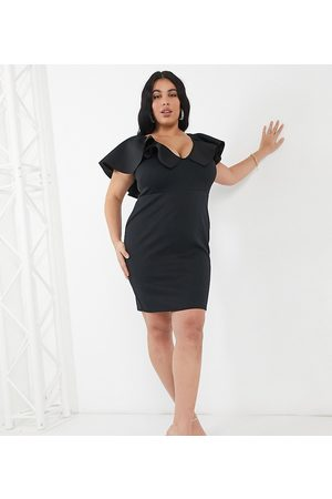 True Violet Plunge front mini dress with extreme frill detail in black