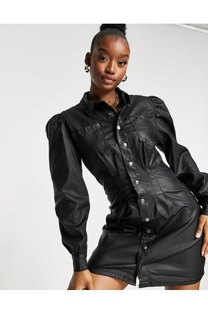 Missguided Denim shirt dress with cinched waist in black