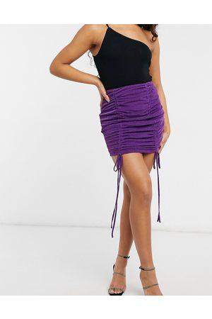 NaaNaa Ruched bodycon skirt in purple glitter