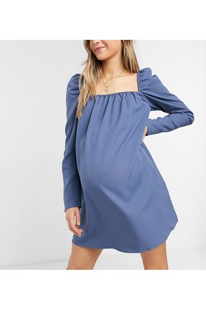 In The Style Maternity X Dani Dyer square neck puff sleeve shift dress in blue