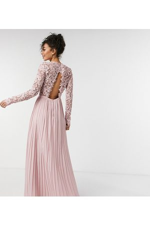 Chi Chi London Lace maxi dress with scalloped back in pink