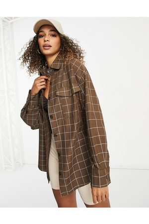 ASOS Tailored suit shacket in brown grid