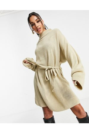I saw it first Knitted jumper dress with belt in cream