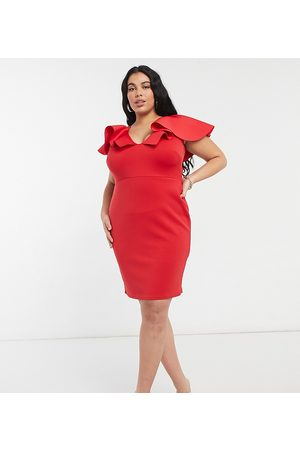 True Violet Plunge front midi dress with extreme frill detail in red