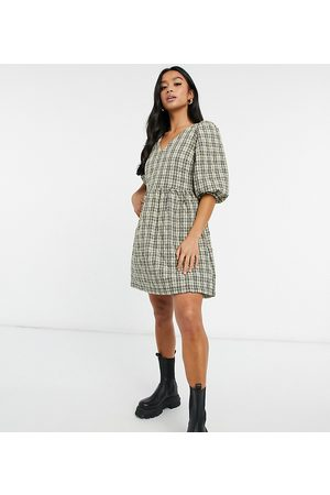 Vero Moda Quilted smock mini dress in check print