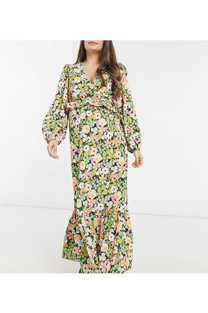 ASOS ASOS DESIGN Maternity wrap front maxi dress in rose bloom print