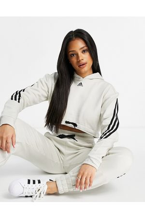 adidas Adidas Training 3 stripe cropped hoodie in grey