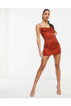 Parisian Satin cami strap mini dress with cowl neck in rust