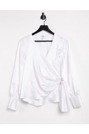River Island Wrap trim drapey blouse in white