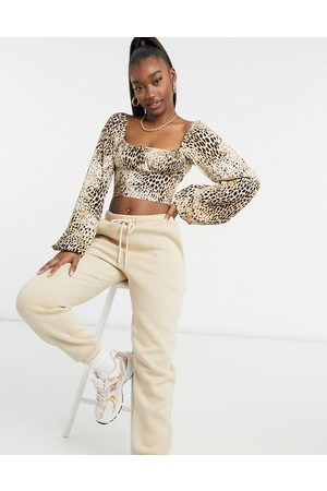 Motel Milk maid crop top with ruched bust in sand leopard