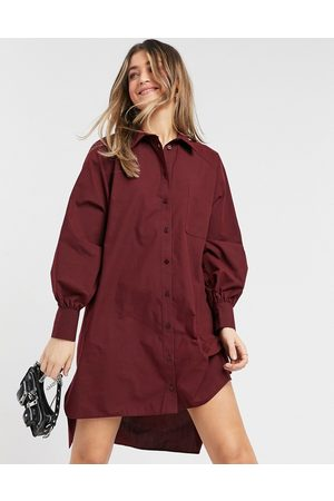 ASOS Oversized boyfriend mini shirt dress in oxblood