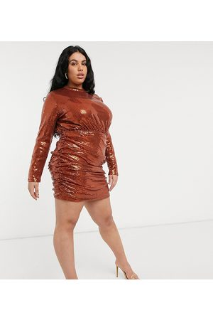 In The Style Exclusive sequin high neck 2 in 1 mini dress in rust