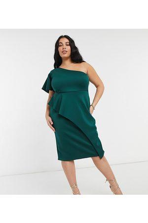 True Violet One shoulder midi dress in emerald