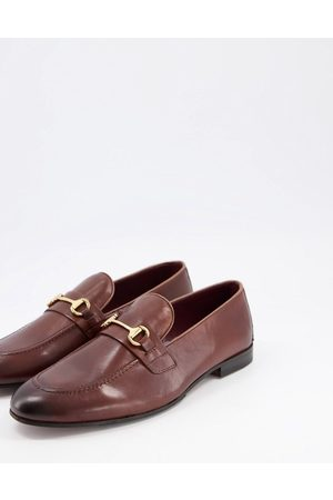 WALK LONDON Terry bar loafers in brown leather