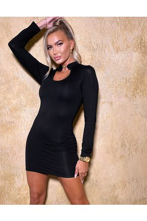 The O Dolls Collection ODolls Collection clasp detail keyhole bodycon dress in black