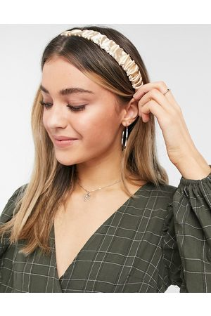 ASOS Pack of 2 stretch ruched headband in taupe and green satin