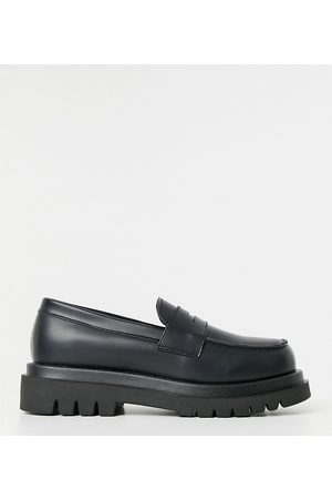 Truffle Collection Wide fit chunky loafers in black faux leather