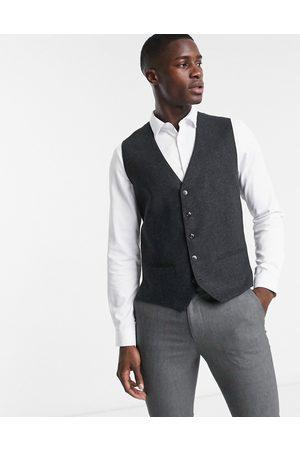 Jack & Jones Premium waistcoat in herringbone grey