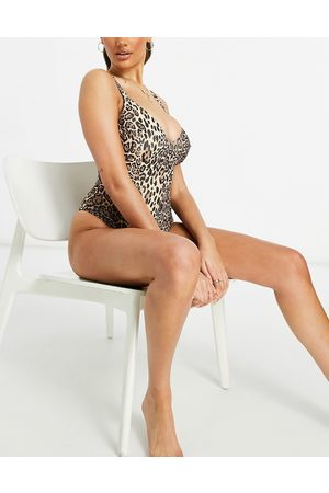 ASOS Fuller bust ribbed loop strappy back swimsuit in leopard print dd