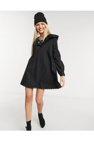 Daisy Street Long sleeve mini smock dress with collar and lace trim in poplin