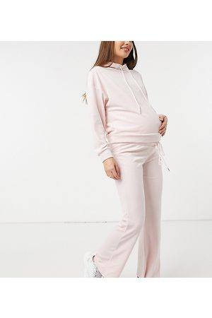 Lindex MOM Exclusive Rose recycled poly velour maternity over the bump lounge bottoms in pink