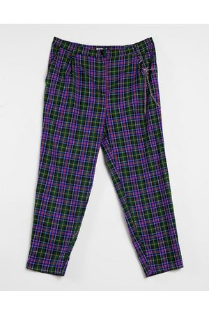 Minga London relaxed high waisted trousers in blue plaid with chain