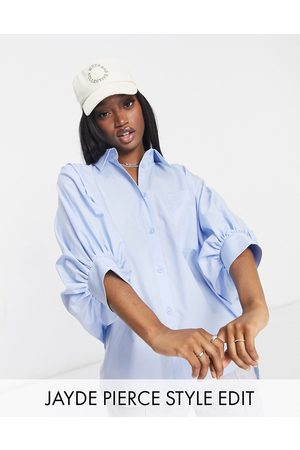 ASOS Oversized cotton shirt with 3/4 volume sleeves in blue