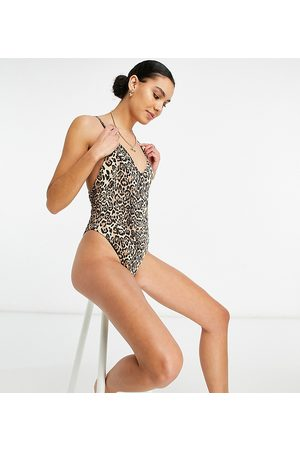 ASOS Tall ribbed loop strappy back swimsuit in leopard print