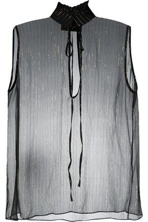 Philipp Plein Blusa con rayas metalizadas