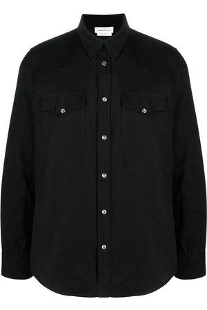 Alexander McQueen Camisa de mezclilla con franja del logo