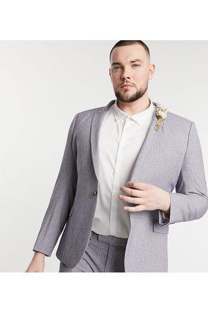 ASOS Plus wedding super skinny suit jacket in dark grey cross hatch