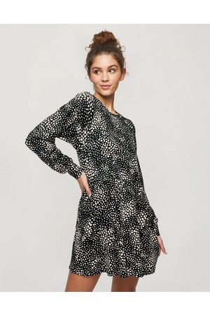 Miss Selfridge Animal print smock dress in black