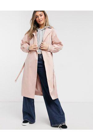 Threadbare Louisa mac coat in dusty pink