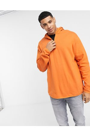 ASOS Hoodie with half zip and side split in orange